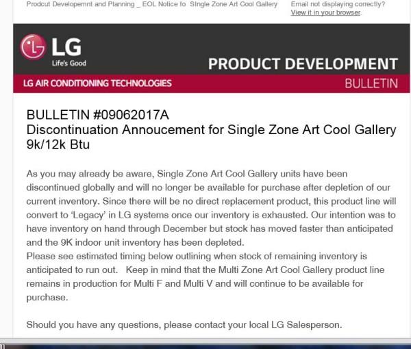 Discontinuation Announcemen for Single Zone Art Cool Gallery 9k-12K BTU