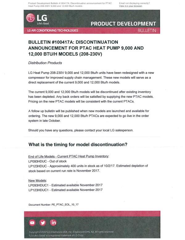 LG. Discontinuation Announcment for PTAC Heat Pump